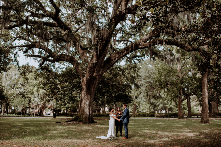 Vanessa & Brian's Charming Savannah Elopement in Forsyth Park